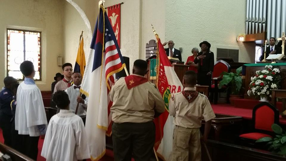 boy scouts at service